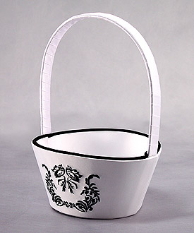Love Bird Damask in Classic Black and White Flower Girl Basket