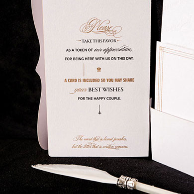 """Love Letters"" Feather Pen Favor"