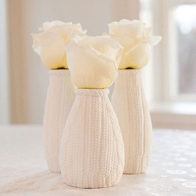 Mini Faux Knit Porcelain Vases