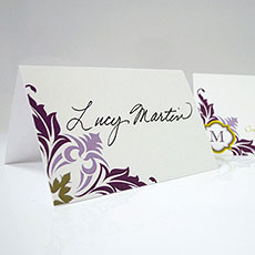 Lavish Monogram Place Card With Fold