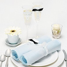 Bride & Groom Wraps with Toasting Flutes