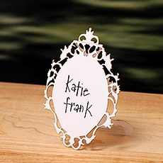 Laser Expressions Small Oval Baroque Frame Folded Place Card