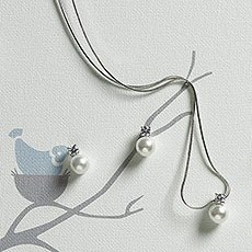 White Pearl with Crystal Jewelry