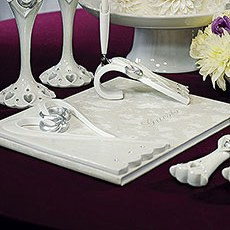 Stylized Heart & Wedding Bands Guest Book