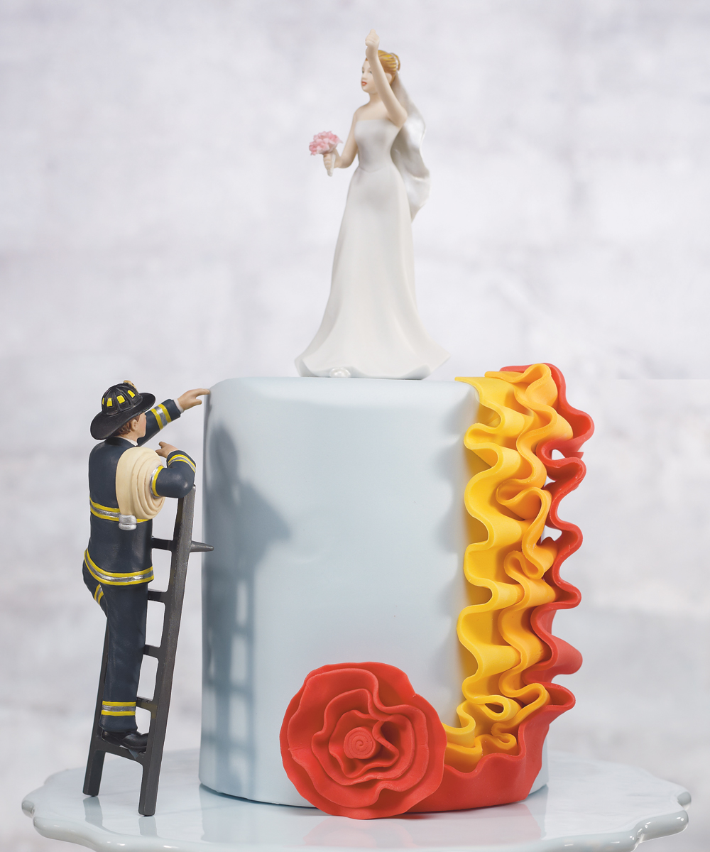 Firefighter Bride And Groom Cake Topper