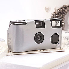 Metallic Silver Single Use Camera – Solid Color Design